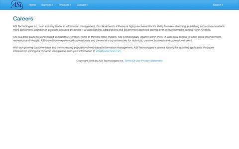 Screenshot of Jobs Page asitechinc.com - ASI Technologies Inc. > Contact > Careers - captured Nov. 19, 2016