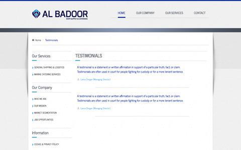 Screenshot of Testimonials Page albadoor.ae - Al Badoor - Job Opporunities - captured Sept. 30, 2014