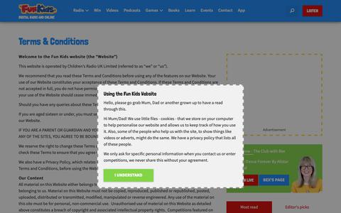 Screenshot of Terms Page funkidslive.com - Terms & Conditions - Fun Kids - the UK's children's radio station - captured April 30, 2019