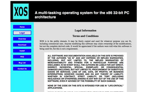 Screenshot of Terms Page openxos.org - XOS - Legal Information - captured Feb. 16, 2018