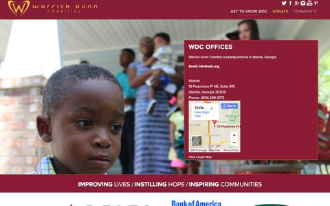 Screenshot of Contact Page wdc.org - Contact Us — Warrick Dunn Charities - captured Feb. 17, 2016