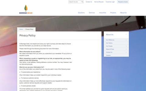 Screenshot of Privacy Page borregosolar.com - Privacy Policy : Borrego Solar Systems - captured Sept. 13, 2014