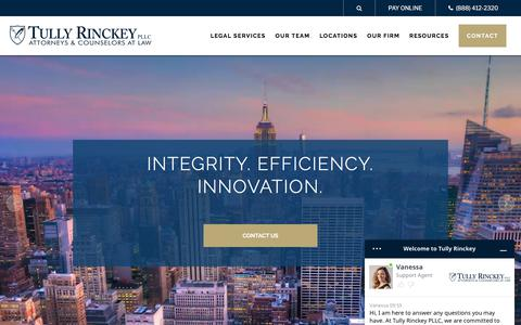 Screenshot of Home Page tullylegal.com - Attorneys for Businesses & Individuals | Tully Rinckey PLLC - captured Aug. 16, 2019