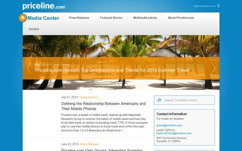 Screenshot of Press Page priceline.com - PLMC - captured July 20, 2014