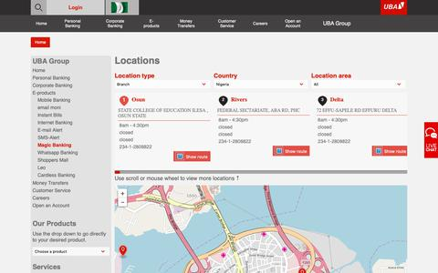 Screenshot of Locations Page ubagroup.com - UBA Bank - captured Oct. 19, 2018