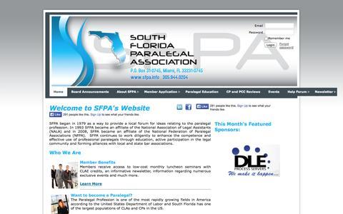 Screenshot of Home Page sfpa.info - South Florida Paralegal Association - Home - captured Oct. 6, 2014
