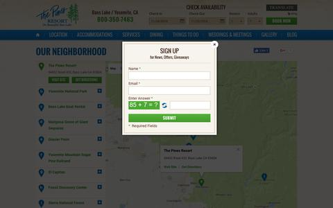 Screenshot of Maps & Directions Page basslake.com - Conveniently-located Yosemite Park Hotel - The Pines Resort - captured Nov. 24, 2016