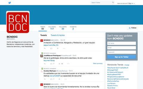 Screenshot of Twitter Page twitter.com - BCNDOC (@BCNDOC_) | Twitter - captured Oct. 23, 2014