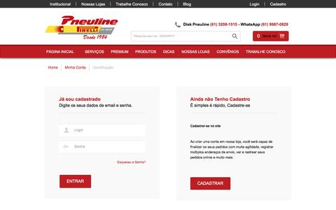 Screenshot of Login Page pneuline.com.br - Pneuline - captured Nov. 9, 2016