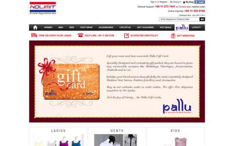 Screenshot of Home Page nolimit.lk - Sri Lanka Biggest and Largest Online Shopping Store - Shop Online for Gents, Ladies, Children for fashionable Clothing and Accessories Bags, Shoes, Watches etc | NOLIMIT - Sri Lanka's Biggest Fashion Chain - captured Sept. 23, 2014