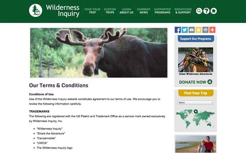 Screenshot of Terms Page wildernessinquiry.org - Terms - Wilderness Inquiry - captured Oct. 7, 2014