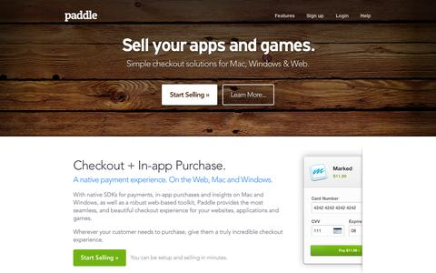 Screenshot of Developers Page paddle.com - Paddle for Developers — The easiest way to sell your apps & games. - captured Sept. 22, 2014