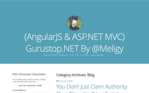 Screenshot of Blog gurustop.net - Blog / (AngularJS & ASP.NET MVC) Gurustop.NET By @Meligy - captured Jan. 16, 2016