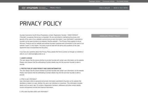 Screenshot of Privacy Page hyundai.co.za - Privacy Policy | Hyundai South Africa | New Thinking, New Possibilities. - captured Sept. 19, 2014