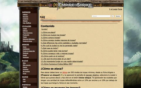 Screenshot of FAQ Page empire-strike.com - FAQ - Wiki Empire-strike - captured July 31, 2017
