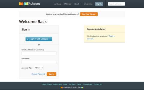 Screenshot of Login Page evisors.com - Sign In – Evisors - captured Oct. 28, 2014