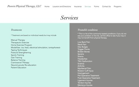 Screenshot of Services Page powersphysicaltherapy.com - Powers PT | Services - captured Sept. 28, 2018