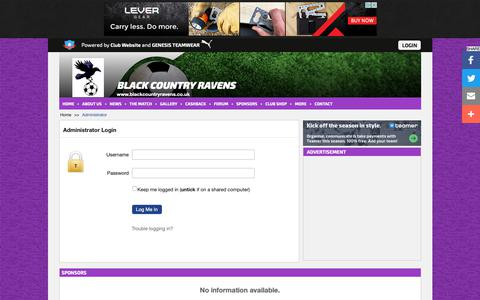 Screenshot of Login Page blackcountryravens.co.uk - Website Administrator | Black Country Ravens - captured Oct. 30, 2018