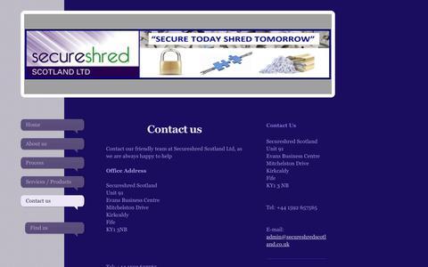 Screenshot of Contact Page secureshredscotland.co.uk - Secure Shred Scotland - captured Sept. 30, 2017