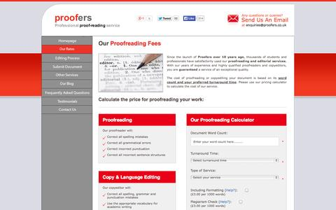 Screenshot of Pricing Page proofers.co.uk - How much does proofreading cost? - Proofreading Prices - captured Sept. 30, 2014