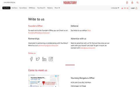 Screenshot of Contact Page yourstory.com - Contact Us | YourStory.com - captured Nov. 17, 2019