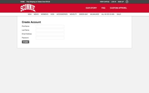Screenshot of Signup Page sconnie.com - Create Account | Sconnie Nation :: Original Apparel Celebrating the Wisconsin Lifestyle - captured Oct. 4, 2014