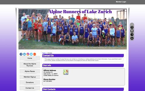 Screenshot of Contact Page clubexpress.com - Contact - Alpine Runners - captured June 28, 2018