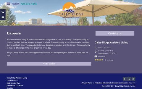 Screenshot of Jobs Page milestoneretirement.com - Careers At Caley Ridge Assisted Living - captured Jan. 25, 2017