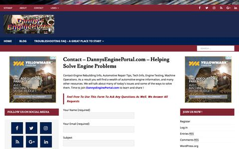 Screenshot of Contact Page dannysengineportal.com - Contact - DannysEnginePortal.com - Helping Solve Engine Problems - captured Nov. 6, 2018