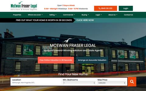 Screenshot of Home Page mcewanfraserlegal.co.uk - Estate Agents & Solicitors covering Edinburgh &… | McEwan Fraser Legal - captured Oct. 3, 2019