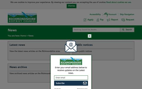 Screenshot of Press Page richmondshire.gov.uk - News - captured Oct. 19, 2018