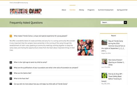 Screenshot of FAQ Page friendscamp.org - Frequently Asked Questions – Friends Camp - captured Aug. 4, 2016
