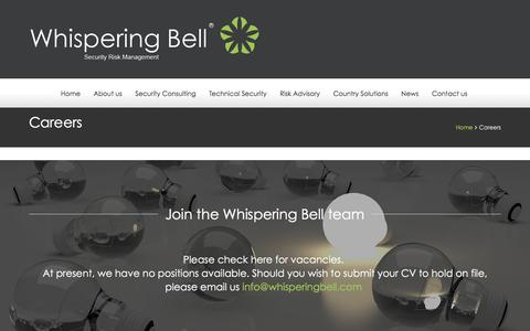 Screenshot of Jobs Page whisperingbell.com - Careers - Whispering Bell - captured Feb. 23, 2016