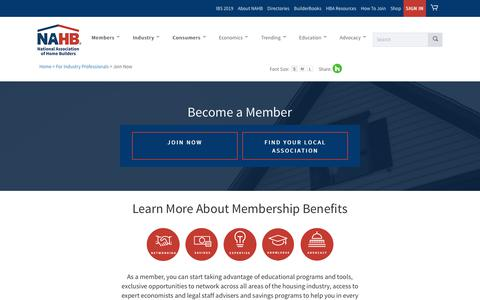 Screenshot of Signup Page nahb.org - Join Now - captured Nov. 15, 2018