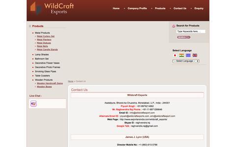 Screenshot of Contact Page wildcraftexports.com - Contact to Wildcraft Exports - Moradabad,Uttar Pradesh - Metal Bells,Metal Candle Stands Suppliers - captured Oct. 7, 2014