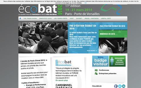 Screenshot of Home Page salon-ecobat.com - écobat 2015 - captured March 5, 2016