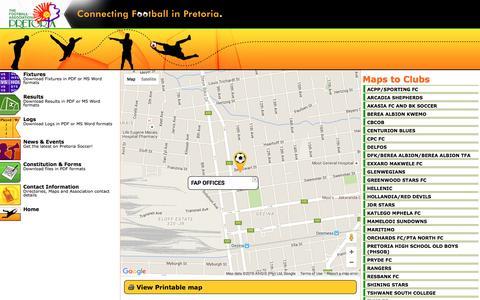 Screenshot of Maps & Directions Page fap.co.za - Football Association Pretoria - Contact information & Directories - captured June 13, 2016