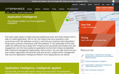 Screenshot of Products Page appdynamics.com - Application Intelligence Platform | Product | AppDynamics - captured Oct. 10, 2014