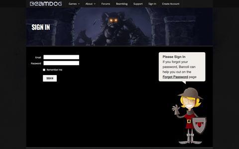 Screenshot of Login Page beamdog.com - Sign In - Beamdog - Great Games, Easy - captured Dec. 30, 2015