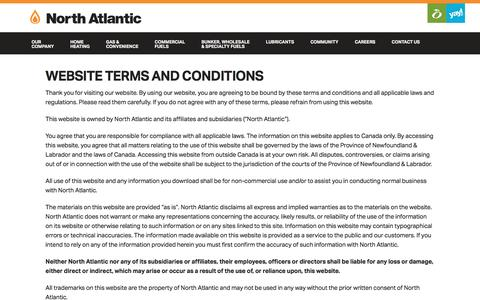 Screenshot of Terms Page northatlantic.ca - North Atlantic   » Website Terms and Conditions - captured Dec. 3, 2016