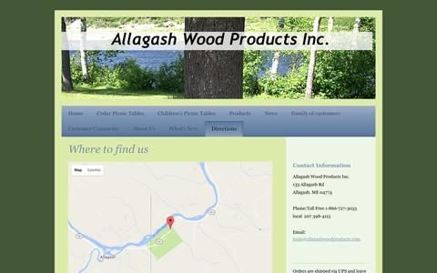 Screenshot of Maps & Directions Page allagashwoodproducts.com - Directions To Allagash Wood Products Inc. in Allagash, ME - captured Nov. 20, 2016