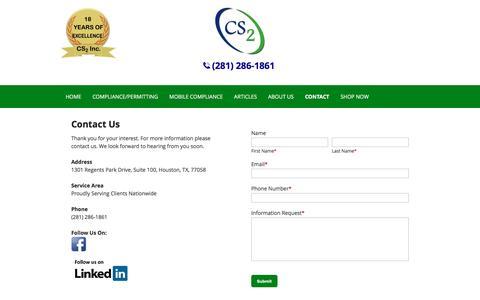 Screenshot of Contact Page cs2inc.com - Hazardous Waste Management | Contact | Houston, TX - captured Jan. 30, 2016