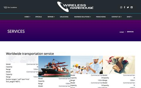 Screenshot of Services Page wirelesswarehouse.ca - Services - captured June 13, 2017