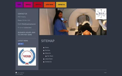 Screenshot of Site Map Page mggimaging.com - Mobile MRI Services - captured Sept. 30, 2017