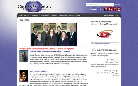 Screenshot of Team Page colmancoaching.com - Colman & Company, Organizational Development Associates, Trainers, and Speakers - captured Sept. 30, 2014