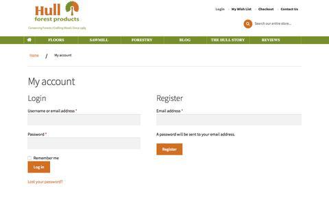 Screenshot of Login Page hullforest.com - My account | Hull - captured Jan. 7, 2020