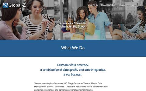 Screenshot of Services Page globalz.com - Accurate Customer Data for Customer 360 and Single Customer View - captured Nov. 10, 2018