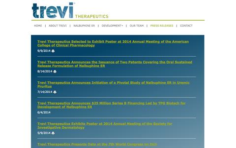 Screenshot of Press Page trevitherapeutics.com - Press Releases | Trevi Therapeutics - captured Sept. 17, 2014