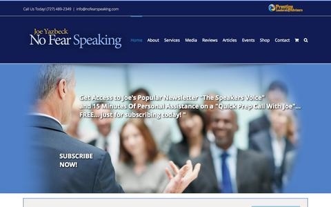 Screenshot of Home Page nofearspeaking.com - No Fear Speaking - captured Aug. 17, 2015
