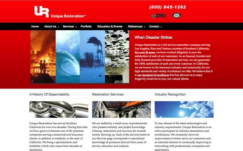 Screenshot of Home Page uniquerestoration.us - Unique Restoration :: Fire, Water, Mold and Wind Restoration for Insurance, Commercial and Residential customers :: www.unique-restoration.com - captured Sept. 30, 2014